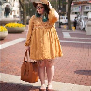 Mustard Yellow Split Sleeve Baby Doll Dress